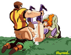 against_rock ass bare_shoulder boots breast brown_hair cleavage clothed_sex couple cum cum_inside deliza dragon_master_(arcade) ejaculation erection female grass huge_penis jedi_ryan legs_up long_hair male missionary orange_hair orange_lipstick panties panties_around_legs pants pants_down penis pumspread purple_panties rock sex straight thick_thighs thigh_boots thigh_grab veiny_penis