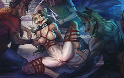 anthro bonifasko breast_grab breast_squeeze breasts canine clothed clothing collar female gag group hand_on_breast hands_behind_back imminent_rape jessica_vega knife licking licking_lips male male/female mammal nipples nude pussy ring_gag rope smile spread_legs spreading tongue tongue_out