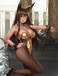 animal_ears anubis_(houtengeki) bunnygirl cleavage dark_skin egyptian female high_heels houtengeki large_breasts leotard long_hair pantyhose solo standing wink