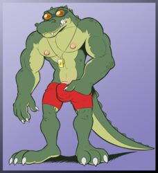 abs anthro anti_dev biceps big_muscles bulge claws clothed clothing crocodile crocodilian eyewear goggles green_skin hi_res lifeguard male muscular nipples pecs penis penis_base renekton reptile scalie shorts solo standing swimsuit teeth toe_claws topless vein whistle