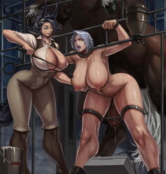 2girls animal_ears balls black_hair boots branding breasts horse horsecock laquadia_(legend_of_queen_opala) legend_of_queen_opala monocle nipples overflow restrained smile sweat tagme testicles xxoom zoophilia zweibelle_(legend_of_queen_opala)