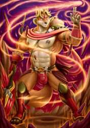 2017 4_toes 5_fingers abs anthro barely_visible_genitalia biceps blonde_hair blue_eyes bulge canine clothing fighting_stance fox front_view hair hi_res holding_object holding_weapon male mammal maxima melee_weapon muscular navel nipples pecs penis solo subtle_penis thong thoron toes weapon