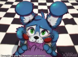 2015 animatronic anthro black_nose blue_fur blush bonnie_(fnaf) buckteeth chest_tuft duo fellatio first_person_view five_nights_at_freddy's five_nights_at_freddy's_2 fur green_eyes kneeling lagomorph looking_at_viewer looking_up machine male male/male mammal oral patreon purple_fur rabbit robot rosy_cheeks saliva sex teeth toy_bonnie_(fnaf) tuft video_games xnirox