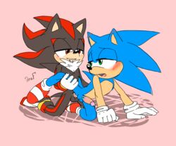 2016 anal animated anthro bed clothing cum duo erection footwear hedgehog humanoid_penis krazyelf loop male male/male mammal penis sex shadow_the_hedgehog simple_background sonic_(series) sonic_the_hedgehog
