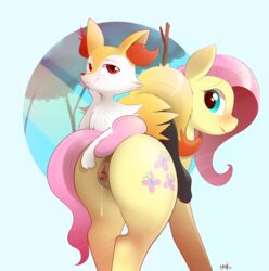 b-epon braddo braddo_epon braixen epon equine fluttershy_(mlp) friendship_is_magic horse invalid_tag mammal my_little_pony nervous nintendo one_eye_closed pokemon pony pussy pussy_juice raised_tail reveal video_games wink