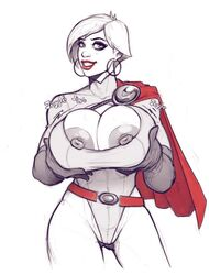 breasts cape cleavage cleavage_cutout dc dc_comics devil_hs earrings female female_only gloves huge_breasts large_breasts lipstick nipples power_girl smile solo teeth