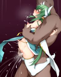 1boy aqua_dress blush breast_grab breasts cum cum_in_pussy dress dress_pull faceless faceless_male fate/grand_order fate_(series) female from_side full_body grabbing green_hair highres horns kiyohime_(fate/grand_order) lactation long_hair medium_breasts nipples nose_blush open_mouth orgasm pelvic_curtain saliva size_difference stomach_bulge thighhighs tokonone tongue tongue_out trembling very_long_hair white_legwear yellow_eyes