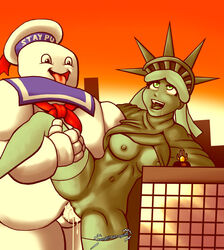 animate_inanimate breasts clothed clothing cum cum_in_pussy cum_inside duo erection food_creature from_behind_position ghostbusters macro nipples not_furry open_shirt penetration penis pussy saittamicus sex spread_legs spreading statue_of_liberty stay_puft_marshmallow_man tongue tongue_out vaginal_penetration vaginal_penetration