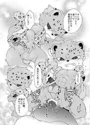 anal anal_sex anthro balls censored comic doujinshi feline japanese_text kemono leopard male male/male mammal nipples nude penetration penis rom sanrio shiroi show_by_rock!! sweat text translation_request