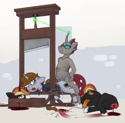 bdsm blood bondage cloudburst decapitation gore guillotine littlepip littlepip_(mlp) marsminer mlp my_little_pony pony rainbow_heart