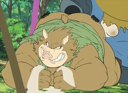 anal anthro ass big_butt boar bottomless bulge clothed clothing colored dragon_quest eto1212 fundoshi humanoid japanese_clothing male male/male mammal oral orc orc_(dragon_quest) porcine presenting presenting_hindquarters rimming sex underwear video_games