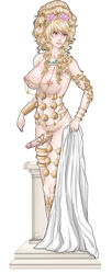 blonde_hair breasts butcher20 dickgirl erection futa_solo futanari intersex jewelry large_breasts long_hair lots_of_jewelry nipples penis penis_ornament solo standing testicles