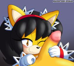2017 anthro black_hair blush canine duo erection face_rub feline feline female fox fur hair hand_on_cock hi_res honey_the_cat looking_at_viewer male male/female mammal penis rubbing senshion sex smile sonic_(series) tails teasing video_games yellow_fur young