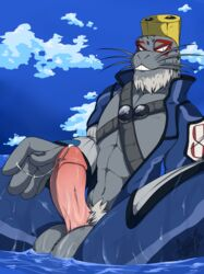 1boy anthro apes balls erection male male_only mammal marine my_hero_academia penis pinniped seal selkie_(my_hero_academia) solo water