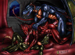 2006 anal balls bed cum dragon group group_sex male male/male oral penis reichelx sex