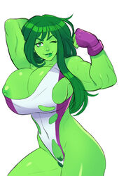 areolae breasts female female_only greenmarine hulk_(series) large_breasts looking_at_viewer marvel medium_breasts muscles muscular_female nipples she-hulk solo
