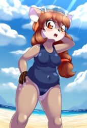 5_fingers alfa995 anthro beach blush breasts brown_hair camel_toe cervine deer doe_(alfa995) eyewear female fur furry goggles heart heart-shaped_pupils mammal open_mouth seaside slightly_chubby solo spots swimsuit symbol-shaped_pupils yellow_eyes