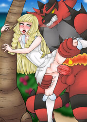 ahe_gao big_penis blonde_hair blush clothed clothed_sex creature female green_eyes incineroar lillie_(pokemon) long_hair penetration pokemon pokephilia sex tiger vaginal_penetration