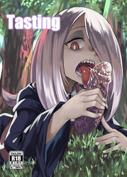 cover cover_page doujin_cover dress fellatio female forest grass hair_over_one_eye little_witch_academia long_hair looking_at_viewer nature open_mouth oral pale_skin pink_hair red_eyes sexually_suggestive solo sucy_manbavaran witch yumoteliuce