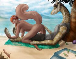 2016 arthropod ass beach breasts brown_hair butt_grab chip_'n_dale_rescue_rangers clothed clothing crab crustacean disney female fur giraffe hair half-closed_eyes hand_on_butt imminent_sex looking_back mammal marine nipples nude open_mouth ponytail pussy raised_tail red_hair rodent sand sea seaside sitting smile spots squirrel tammy_squirrel towel water xtrasis