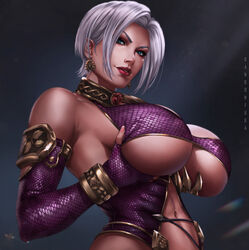 blue_eyes bracelet breast_hold breasts cleavage dandon_fuga elbow_gloves female gloves isabella_valentine jewelry looking_at_viewer nail_polish navel parted_lips short_hair silver_hair smile solo soul_calibur stomach upper_body