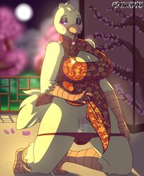 anthro avian big_breasts bird blush breasts chica_(fnaf) chicken chinese_clothing chinese_dress cleavage clothed clothing dress female five_nights_at_freddy's hi_res keyhole_turtleneck non-mammal_breasts panties presenting pussy pussy_juice solo spunkubus sweater underwear video_games year_of_the_rooster