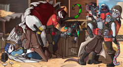2017 anthro archimedes_(team_fortress_2) blue_hair blue_nipples breasts buckteeth canine clothed clothing cosplay demoman_(team_fortress_2) engineer_(team_fortress_2) eyewear feathered_wings feathers female forced fox fuf glasses group group_sex hair knot male male/female mammal medic_(team_fortress_2) nipples open_mouth orgy pussy pyro_(team_fortress_2) rape rat rodent scout_(team_fortress_2) sex soldier_(team_fortress_2) spy_(team_fortress_2) team_fortress team_fortress_2 tears teeth tongue tongue_out torn_clothing valve video_games wings