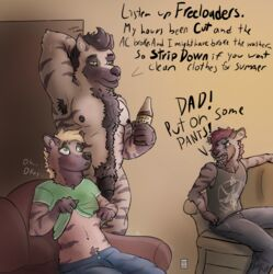 anthro clothing father father_and_son hyena male mammal nude parent penis pickles-hyena son undressing