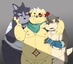 2017 4_ears anthro belly blush canine canine cusith evil_grin fur kemono male male/male mammal moritaka multi_ear nipples nude open_mouth overweight penis scar scarf simple_background slightly_chubby smile teeth third_eye tokyo_afterschool_summoners tsathoggua 酒肉熊貓_(artist)