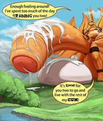 2017 anal anal_sex anthro balls big_balls canine comic cum cum_inside dialogue duo erection excessive_cum forest fox fur hi_res huge_balls hyper hyper_balls hyper_penis kittykage kurama living_condom macro male male/male male_penetrating mammal mountain multi_tail muscular muscular_male naruto nude orange_fur orange_penis penetration penis sex size_difference tailed_beast teeth tree