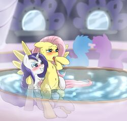 2017 blue_eyes blush cradeelcin cutie_mark equine eyeshadow female female/female fluttershy_(mlp) friendship_is_magic grin hair half-closed_eyes hi_res hooves horn long_hair makeup mammal my_little_pony open_mouth partially_submerged pegasus pink_hair pussy rarity_(mlp) smile unicorn water wings yuri