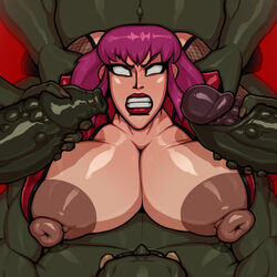 1girl 4boys ahe_gao alternate_version_available ambiguous_penetration big_areola big_belly big_breasts big_nipples brown_nipples busty cleavage clenched_teeth curvy dark_nipples erect_nipple erect_nipples erection eyeliner fangs female femsub foreskin from_behind front_view fucked_silly grab grabbing green_skin human humanoid interspecies lipstick makeup male male/female maledom multiple_boys multiple_males naked nude oboro oboro_(taimanin_asagi) orc penetration phimosis purple_eyes purple_hair rampage0118 red_lipstick rolling_eyes sex shiny shiny_skin short_hair simple_background solo_female straight taimanin_asagi taken_from_behind voluptuous