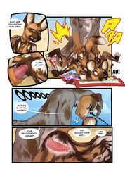 african_wild_dog anthro balls_deep beach breasts canine catahoula_cur comic demicoeur dexter_(demicoeur) dialogue duo english_text erection female humanoid_penis internal looking_back male male/female mammal nude open_mouth outside penetration penis pussy seaside sex shuki surprise text