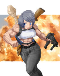 artist_request bare_shoulders belt black_hair blue_eyes breasts explosion female female_only gun muscles muscular_female navel smile solo veins weapon