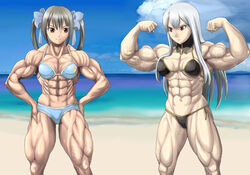 2girls abs artist_request beach biceps bikini black_hair bow breasts brown_eyes cleavage female female_only long_hair muscles muscular_female navel pose red_eyes thong twintails veins white_hair