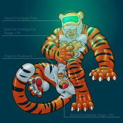 4_toes 5_fingers anal anal_sex claws color_contrast dildo feline hi_res human male male_focus mammal muscular muscular_male nude penetration rei98 rubber sex_toy shiny solo striped_body symbiote text tiger timer_suit toes transformation