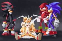 2009 balls bukkake cum knuckles_the_echidna penis shadow_the_hedgehog sonic_(series) sonic_the_hedgehog tails unknown_artist yaoi