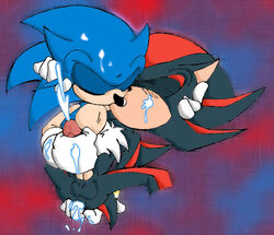 balls cum fingering handjob kissing male male/male penis sex shadow_the_hedgehog sonic_(series) sonic_the_hedgehog unknown_artist