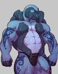 2017 abs anthro balls biceps carracosta clothed clothing digital_media_(artwork) half-erect humanoid_penis jockstrap knuxlight looking_at_viewer male muscular muscular_male nintendo pecs penis pokemon reptile scalie simple_background solo standing sweat tattoo turtle underwear video_games