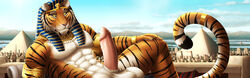 2017 abs amazing_background ancient_egypt anthro black_fur city clothed clothing detailed_background dream_and_nightmare egyptian feline fur hi_res jewelry king looking_at_viewer lying male mammal navel nude on_back orange_fur outside penis pharaoh royalty sky smile solo stripes tiger white_fur yellow_eyes