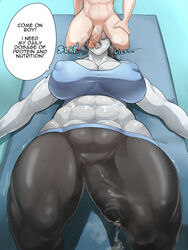 abs breasts bulge cameltail cleavage cum dickgirl donaught erection erection_under_clothes fellatio futanari intersex lying male male_on_futa muscles muscular_futanari nipples on_back open_mouth oral penis penis_under_clothes precum speech_bubble text tongue tongue_out wii_fit wii_fit_trainer