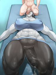 abs breasts bulge cleavage cum dickgirl donaught erection erection_under_clothes fellatio futanari intersex lying male male_on_futa muscles muscular_futanari nipples on_back open_mouth oral penis penis_under_clothes precum tongue tongue_out wii_fit wii_fit_trainer