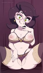bare_shoulders bed_sheet bra breasts cleavage earring eyebrows_visible_through_hair female glasses green_eyes hand_to_own_mouth hand_up large_breasts licking_lips lingerie looking_at_viewer matching_hair/eyes merunyaa navel nipples npc panties partially_visible_vulva pink-framed_eyewear pink-framed_glasses pokemon pokemon_(game) pokemon_sm purple_background purple_bra purple_eyes purple_hair purple_legwear purple_panties short_hair simple_background sitting smile solo spread_legs thighhighs tongue tongue_out tumblr underwear web_address wicke_(pokemon)
