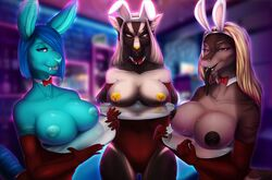 2017 able01 absurd_res anthro armwear bar big_breasts bite_mark blonde_hair blue_eyes blue_fur blue_hair blue_nipples blue_skin bow_tie breasts brown_fur brown_nipples brown_skin bunny_ears_(disambiguation) canine cleavage clothed clothing clothing_lift corset elbow_gloves exposed_breasts facial_piercing fangs female fin fish flashing front_view fur gloves grin hair hi_res holding_object inner_ear_fluff inside kalie klenerschluchti lagomorph lingerie lip_piercing long_hair looking_at_viewer mammal marine multicolored_body multicolored_hair nipple_piercing nipples non-mammal_breasts perpessio piercing pink_eyes plate presenting presenting_breasts rabbit red_clothing scales scar shark sharp_teeth short_hair simple_background smile standing stripes suits teeth thick_thighs tiger_shark tongue tongue_out tongue_piercing uniform white_fur white_skin winterblack wolf yellow_eyes yellow_nipples