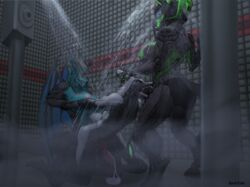 anal anal_sex animal_genitalia animal_penis anthro big_breasts breasts canine canine_penis condom cybernetics cyborg dickgirl dickgirl/male dickgirl_domination dragon eastern_dragon erection fellatio filled_condom futa_on_male futanari group group_sex hands_behind_back hybrid intersex intersex/male kneeling knot machine male mammal nipples nude open_mouth oral penetration penis sex shintori shower standing threesome wearing_condom