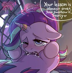 2017 blush crescent_moon cutie_mark dialogue dickgirl duo english_text equine female fensu-san friendship_is_magic hat highres horn horn_ring indoors leash male mammal moon multicolored_hair my_little_pony one_eye_closed oral penis rule_63 sex solo_focus starlight_glimmer tears text twilight_sparkle_(mlp) two_tone_hair unicorn
