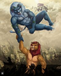 2016 5_fingers abs anthro biceps biped black_fur black_nose black_penis black_spots blue_eyes blue_fur blue_mane blue_nipples blue_tail boat body_hair brown_fur chest_hair cloud countershade_face countershade_torso countershading digital_media_(artwork) dionysus disembodied_hand duo_focus eyebrows feline flaccid food fruit fur gondola grapes greek greek_mythology group happy_trail heaven hi_res hybrid leopard lion lukerative lying male mammal mane muscular muscular_male mythology nipples nude on_side open_mouth pecs penis pink_eyes pink_mane pink_nipples river rov serratus signature silhouette sky spots spotted_fur sun tail_tuft tan_countershading tan_fur tuft vehicle vines yellow_sclera