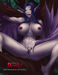 blue_hair breasts demon fangs female greek_mythology hair harpy high_resolution large_breasts long_hair masturbation monster mythology navel nipples one_closed_eye pointed_ears pussy_juice sitting solo source_request spread_legs spreading uncensored vagina wings yellow_eyes zombiepirate