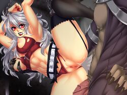 1boy abs animal_ears arms_over_head belt bondage bondage breast_grab breasts chains crescentia cum cum_on_wall deathblight deathblight_rpg demon female ferania_(deathblight) functionally_nude fur game_cg game_over garters handcuffs helpless high_heels imminent_rape imminent_sex large_breasts leg_up lips lipstick locker long_hair long_nails nail_polish navel nipples panties panties_aside penis pussy red_eyes red_panties restrained shoes silver_hair skirt spread_legs tail tank_top teeth thighhighs torn_clothes uncensored veins wall white_hair wolf_ears wolf_girl wolf_tail zipper