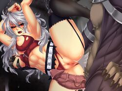 1boy abs angry animal_ears arms_over_head belt biting_lip blush bondage bondage breast_grab breasts chains crescentia cum cum_on_wall deathblight deathblight_rpg demon erection female ferania_(deathblight) functionally_nude fur game_cg game_over garters glans handcuffs helpless high_heels imminent_rape imminent_sex large_breasts leg_up lips lipstick locker long_hair long_nails nail_polish navel nipples panties panties_aside penis pussy red_eyes red_panties restrained shoes silver_hair skirt spread_legs tail tank_top teeth thighhighs torn_clothes uncensored veins wall white_hair wolf_ears wolf_girl wolf_tail zipper